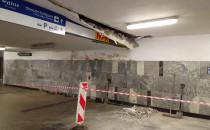 Zarwany fragment sufitu w tunelu pod...