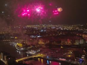 """Odpalenie napisu """"Gdańsk"""" widziane z góry"""