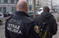 Strażnicy miejscy zatrzymują rozlepiającego ulotki