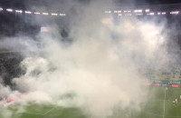 Świece dymne na meczu Lechia Gdańsk - Pogoń Szczecin