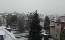Śnieg pada we Wrzeszczu