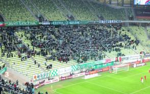 Doping kibiców Lechii Gdańsk na meczu z Piastem Gliwice