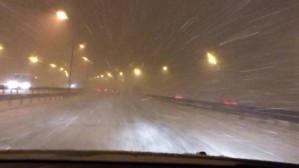 Intensywne opady śniegu na obwodnicy