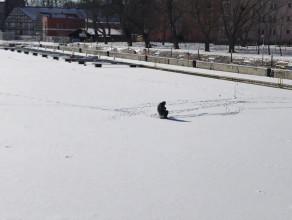 Samotny wędkarz na lodzie