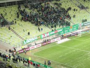 Kibice po golu Lechii na 2:1 w meczu z Termaliką