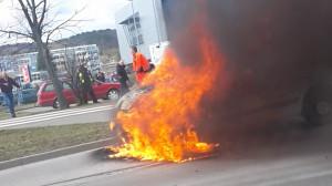 Pożar auta na Grunwaldzkiej