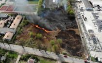 Pożar suchej trawy Orunia ul.Równa