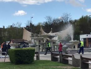 Próbne uruchomienie fontanny w Gdyni