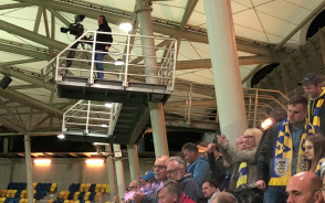Radość po golu Arki w meczu z Cracovią 2:0