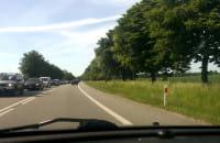 Korek na trasie do Elbląga
