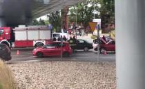 Skutki wypadku motocyklisty pod Galerią...