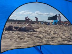 Tłumy na plazy na Stogach