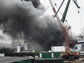 Pali się śrutownia w stoczni Nauta