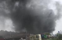 Pożar na terenach stoczniowych w Gdańsku od ul. Jana z Kolna