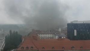Czarny dym nad Gdańskiem w okolicy stoczni