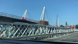 Postęp prac na moście w Sobieszewie