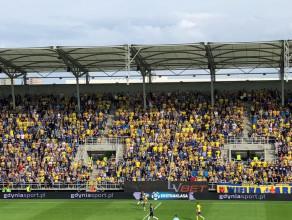 Radość po golu dla Arki Gdynia w meczu z Zagłębiem Sosnowiec