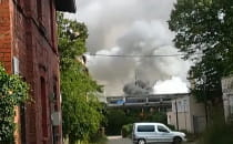 Pożar we Wrzeszczu przy torach