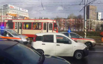Wykolejenie tramwaju przy Zieleniaku.