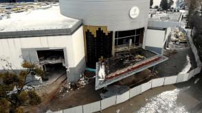 Wyburzanie kompleksu po starym Gemini w Gdyni z lotu ptaka