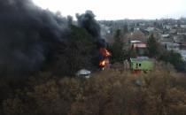 Pożar na terenie ogródków działkowych na...