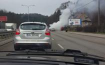 Pożar auta i korek na Słowackiego