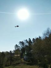 Helikopter ratunkowy na akcji w Chwaszczynie