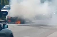 Pożar samochodu na Chrobrego