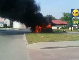 Pożar samochodu przy ul. Warszawskiej