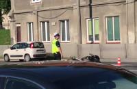Stłuczka - opel corsa i motocykl na Trakcie św. Wojciecha