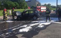 Skutki pożaru auta na Jasieniu