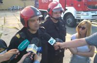 Strażak opowiada o przebiegu pożaru na Oruni. [słaby dźwięk]