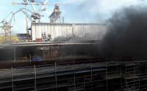 Pożar na terenie stoczni Crist w Gdyni