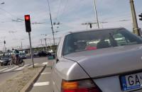 Rowerzyści na skrzyżowaniu Morskiej i Warszawskiej