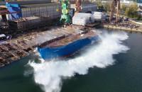 Wodowanie statku Planeta I w Remontowa Shipbuilding