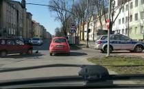 Skutki kolizji na krzyżówce Kościuszki...
