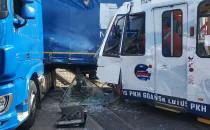 Skutki wypadku tramwaju i ciężarówki w...