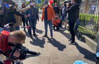 Protest rybaków pod Urzędem Morskim w Gdyni