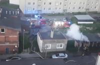 Dogaszanie pożaru przy ul Brzechwy