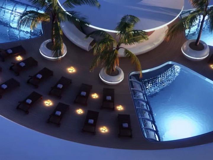 Water Discus Hotel to pierwsza tego typu konstrukcja na świecie. Składa się zkilku dysków, zczego jeden zanurzony jest pod wodą.