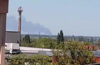 Dym widoczny z okna w Tczewie.