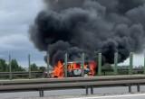 Płonie auto na zjeździe z S7 na obwodnicę