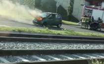 Pożar auta na al. Adamowicza