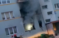 Pożar w mieszkaniu na Żabiance
