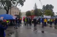 Protest pracowników spółki Port Gdański Eksploatacja