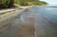 Sztorm wypłukał piasek z plaży w Orłowie
