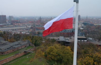 Wielka flaga Polski nad Gdańskiem