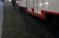 Wykolejony tramwaj na Hucisku