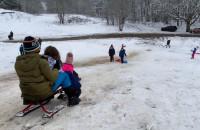 Dzieci zjeżdżają na sankach w Chwarznie