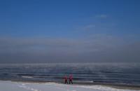 Rzadki widok - parujące morze